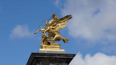 Gold Statue Alexandre III Bridge, Paris